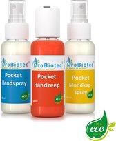 ProBiotec® Beschermingspakket voor Handen – 3-in-1 Pocket Handzeep Handspray en Mondmasker Spray – 100% Ecologische bescherming – 3 x 50ml Pocket Flesjes