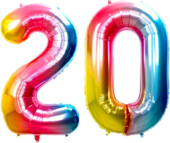 Folie Ballon Cijfer 20 Jaar Regenboog 86Cm Verjaardag Folieballon Met Rietje
