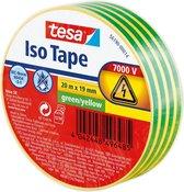 tesa® Isolatietape - voor het isoleren en bundelen van elektrische kabels, soft pvc, 20m:19mm, geel-groen