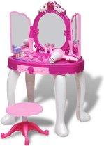 vidaXL Speelgoedkaptafel staand met 3 spiegels en licht/geluid - Blauw | Roze