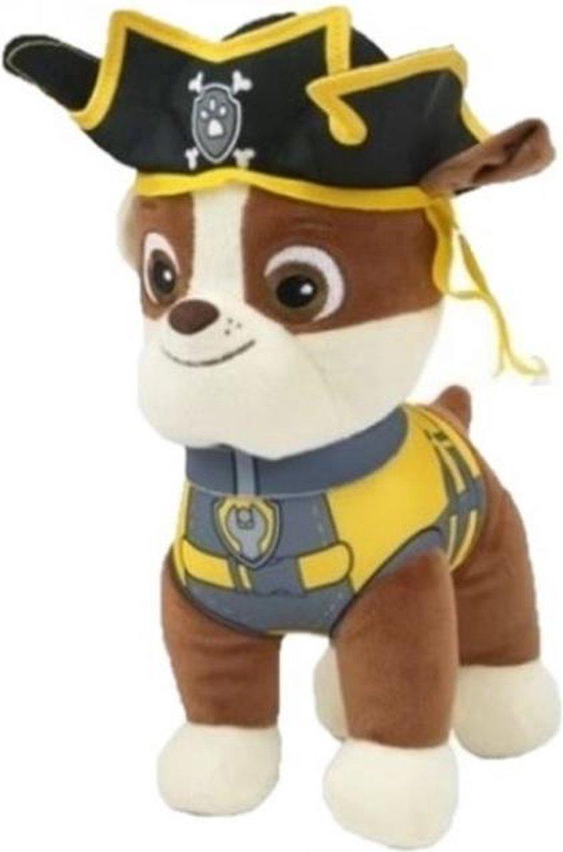 Paw Patrol Piraten Pluche Knuffel Rubble 28cm | Paw Patrol & Friends | Chase - Rubble - Marshall - Skye - Zuma - Rocky - Ella - Tuck | Nickelodeon | Speelgoed