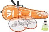 Victor VICfun oranje badmintonset 1.6 | 2 rackets shuttles en tas