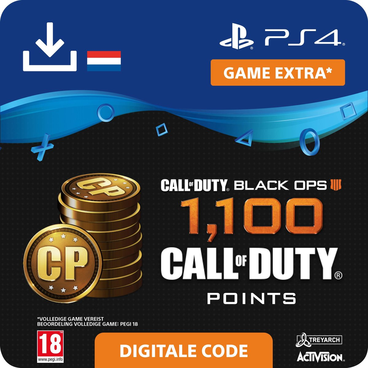 Call of Duty Black Ops 4 - digitale valuta - 1100 Call of Duty Points - NL - PS4 download