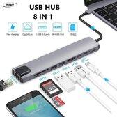 8 in 1 USB C-HUB Multipoort Adapter - Compatible met Apple Mackbook Pro, Ipad pro - AANBIEDING Prijs