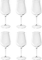 6x Witte of rode wijn wijnglazen 47 cl/470 ml van onbreekbaar kunststof - Wijnen wijnliefhebbers drinkglazen - Wijn drinken – herbruikbare glazen