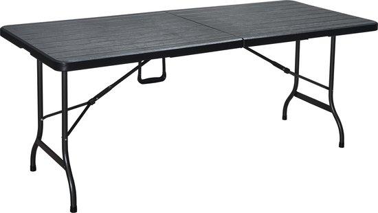 ERRO Kunststof Vouwtafel - Houtlook - 180 cm lang - 74 cm breed - Aluminium frame - Zwart