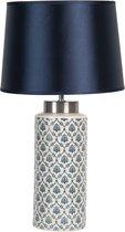 Clayre & Eef Tafellamp 6LMC0023 Ø 28*50 cm / E27 - Blauw Keramiek BureaulampNachtlampje