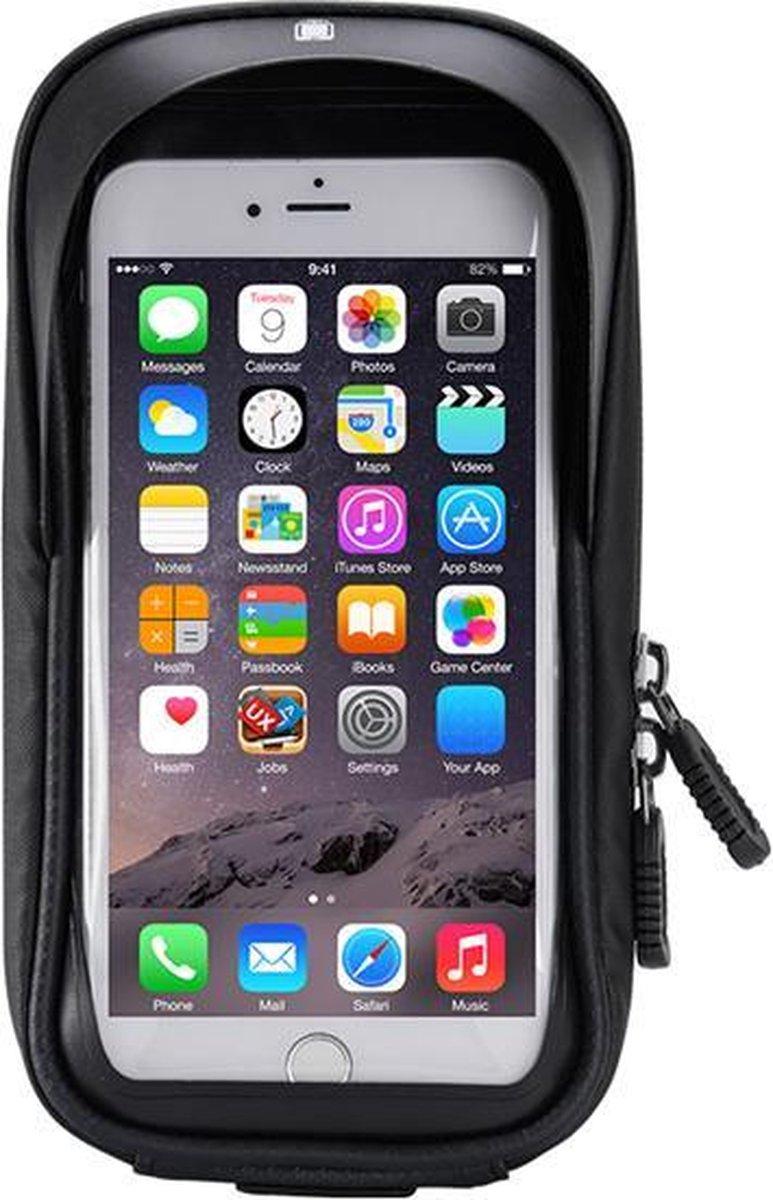 Telefoonhouder fiets met opbergruimte - Telefoonhouder fiets waterdicht - Geschikt voor elke smartphone - Zwart