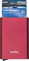 Swifty Uitschuifbare Pasjeshouder - Aluminium Creditcardhouder / Kaarthouder  voor mannen en vrouwen - Anti-Skim / RFID Card Protector  7 tot 8 Pasjes - Rood