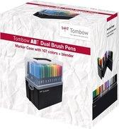 Tombow - ABT - dual - brush - tekenpennen - koffer - met 107 markers + blender