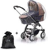 Ted&Tilly - Regenhoes voor kinderwagen met kijkvenster - wandelwagen regenbescherming - met handig opbergtasje - Joolz - Bugabee - Easywalker - Stokke - Nuna - Cybex - Mutsy - Dubatti - 100% PEVA, geen PVC