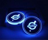 Coole Lichtgevende LED Onderzetters - Bekerhouders - Sfeerverlichting - LED Licht - Interieur Verlichting - 7 Verschillende Kleuren LED - Opladen via USB – Volvo