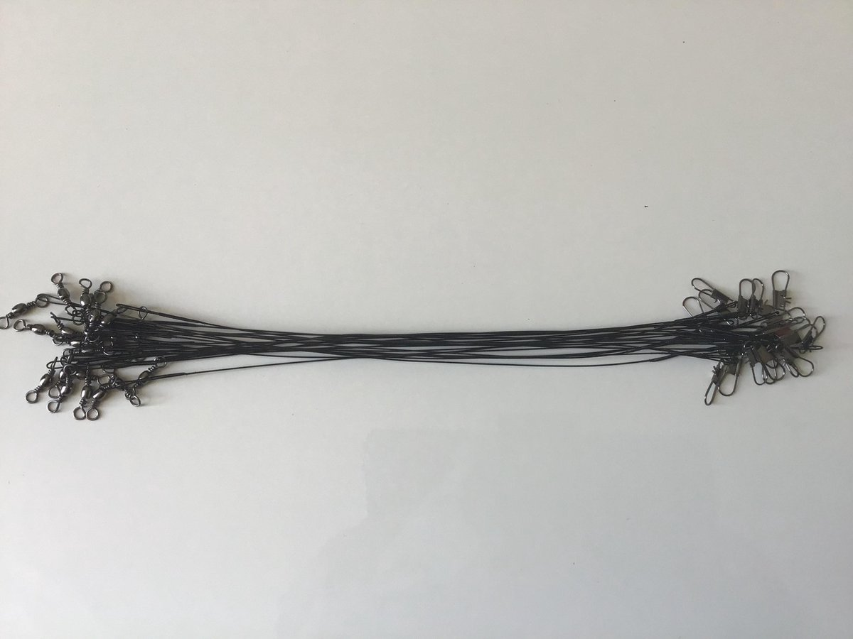 10 stuks onderlijnen roofvis - Fjord -rvs - gecoat - 25 cm