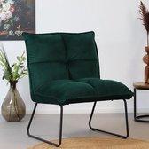 Bronx71 Fauteuil velvet Malaga donkergroen - Zetel 1 persoons - Relaxstoel - Fauteuil groen - Kleine fauteuil - Fauteuil velvet - Velours - Fluweel stof