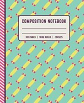 Composition Notebook 100 Pages Wide Ruled 7x5x9.25: Skateboard Pattern 1-Subject School Composition Notebook for Girls, Boys, Kids, Women and Teenager