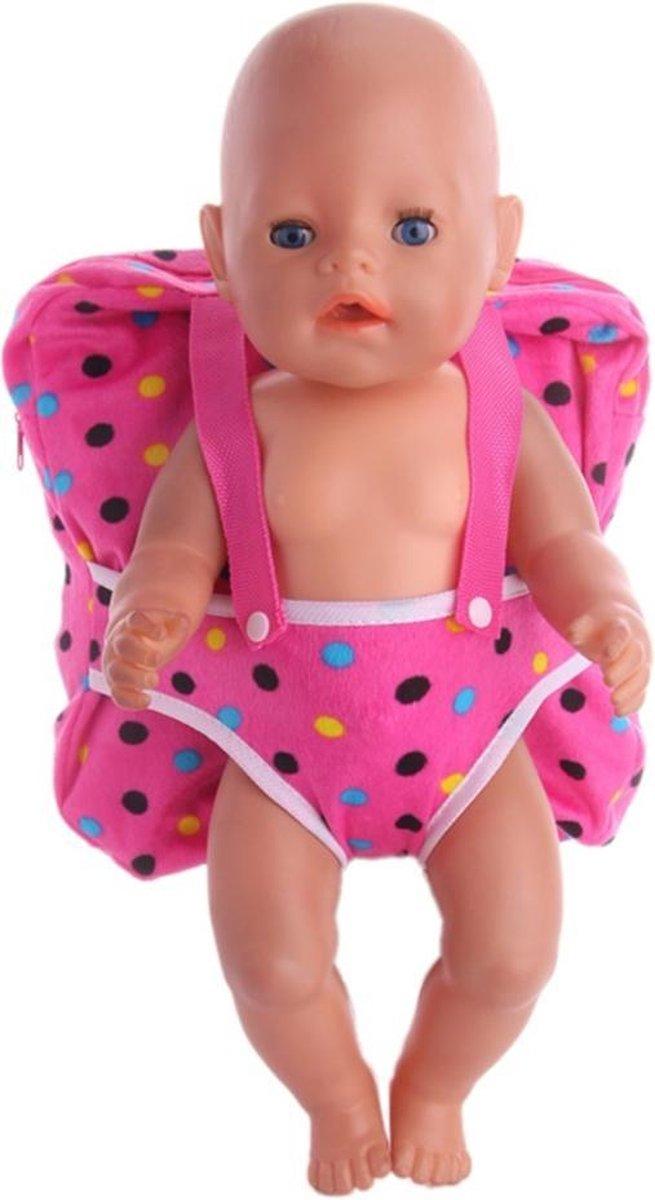 Poppen accessories - Rugzak voor babypop - Geschikt voor Baby Born - Roze met stippen
