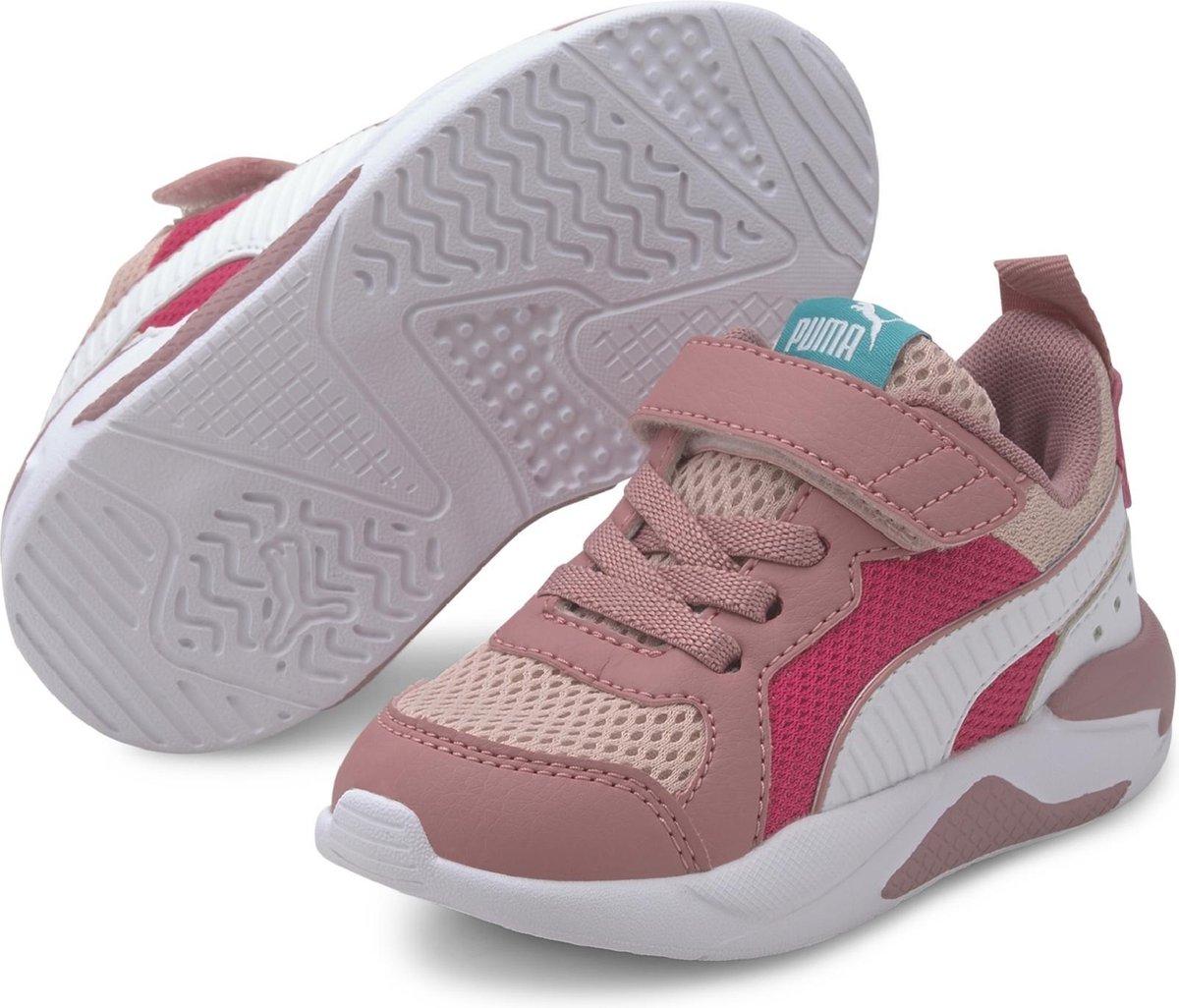 PUMA X-Ray AC Inf Sneakers Unisex - Peachskin-Puma White-Foxglove-Glowing Pink-Viridian Green - Maat 23