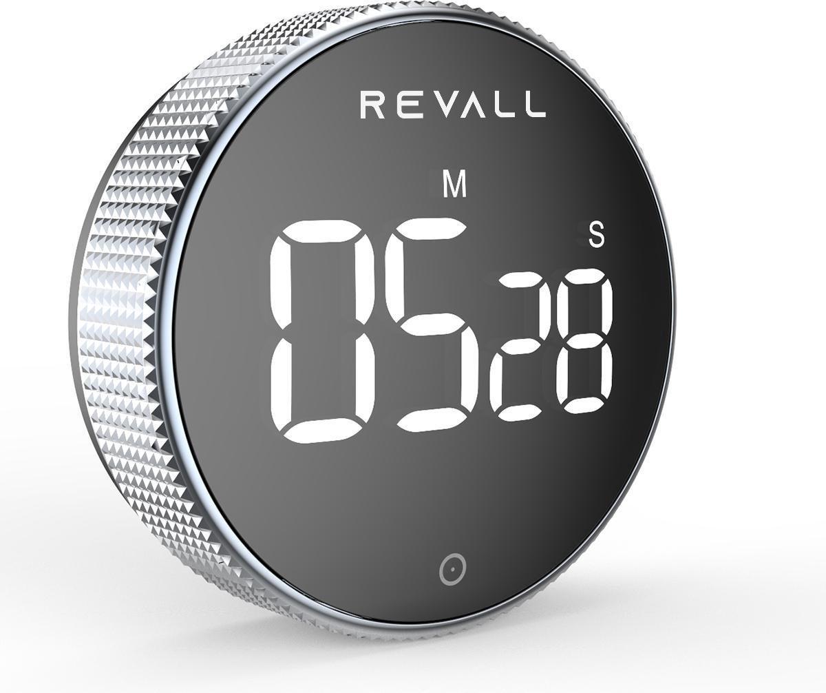 REVALL Digitale Kookwekker - Timer - Magnetisch - LED Display - Handige Draaiknop - Zwart -  Inclusi