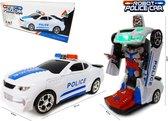 Robot Police Car 2 in 1 robot en auto transformer voertuig politie auto - led licht en geluid (incl. batterijen)