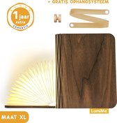 LumiMe™ The Original Boeklamp - Løvtre Maat XL – Houten Book Lamp Nachtlampje of Leeslamp - Draadloze Oplaadbare LED Lamp - Tafellamp Slaapkamer Industrieel Hout