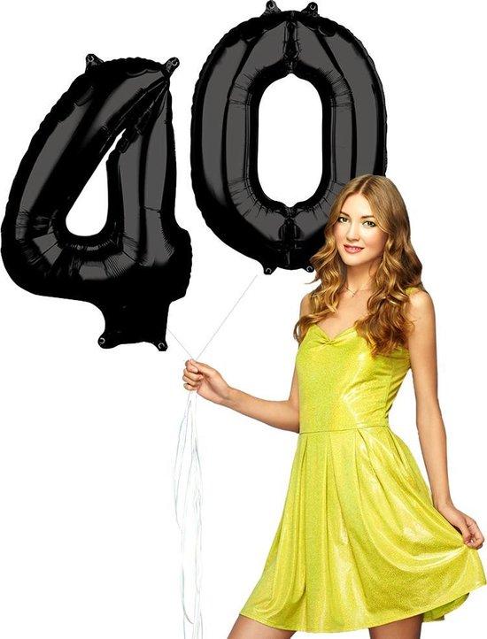 Zwarte folie ballonnen cijfers 40 jaar.