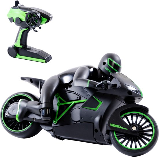 Afbeelding van Bestuurbare Motor - 2.4 GHz - Motorfiets - Racemotor met Afstandsbediening - Radiografische Voertuigen Kinderen - RC Voertuig - Jongens Speelgoed - 8, 9, 10, 11 en 12 jaar - tot 20 km/uur - Hoge Snelheid - Groen speelgoed