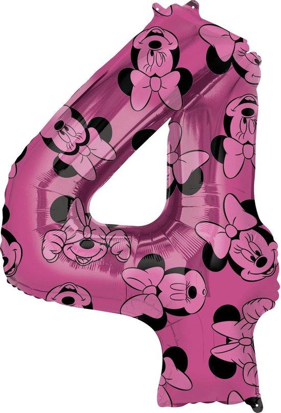 Minnie Mouse Helium Ballon Cijfer 4 66cm leeg