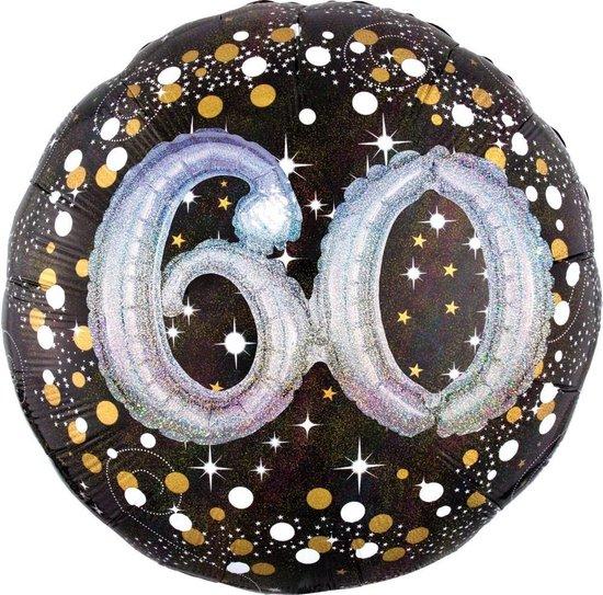 Amscan Folieballon Happy Birthday 60 Jaar 91 Cm Helium Zwart
