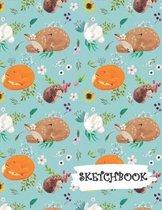 Sketchbook: Baby Deer Fox Bunny Hedgehog Fun Framed Drawing Paper Notebook