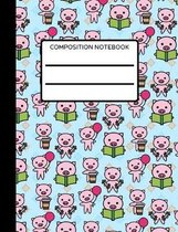 Pig Composition Notebook: Collage Ruled, Perfect For Kids, School Notebook