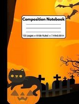 Composition Notebook: Halloween Gifts for Kids: Black Cat on Pumpkin Wide Ruled Workbook for Teens Kids Students for School Home and Work