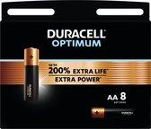 Duracell Optimum Alkaline AA-batterijen, 1,5V LR06 MX1500, 8 stuks