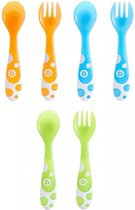 Munchkin Kinderbestekset -  6-delig - 3 Vorken en 3 Lepels - Oranje/Blauw/Groen