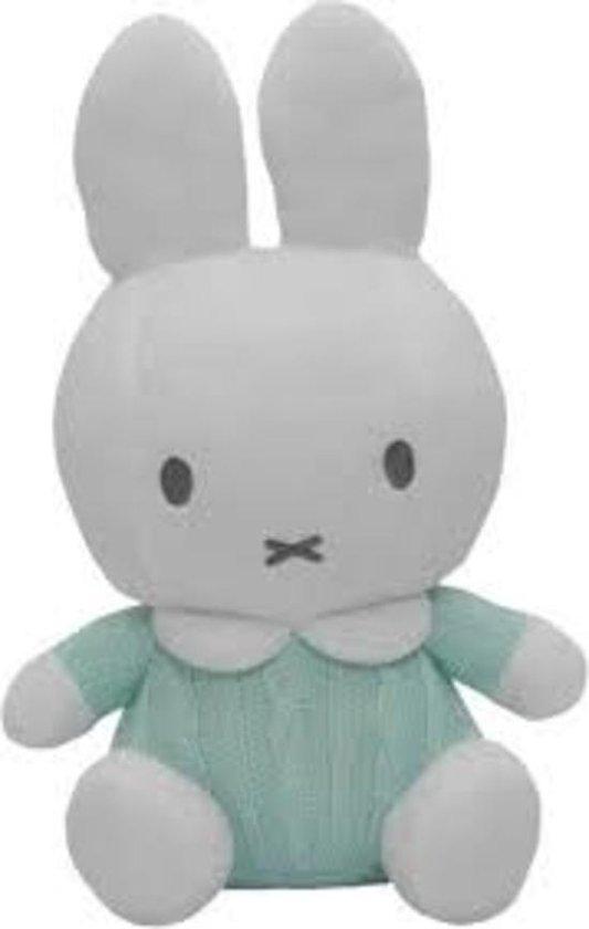 Nijntje Mint Groen Gebreid Pluche Knuffel 25cm (Incl. Belletje/Rammelaar) - Baby knuffel - Kraam cadeau - geboorte baby | GIFT QUALITY PLUSH | Peluche Nijntje konijn 25cm