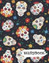 Sketchbook: Colorful Flowers Sugar Skull Day of Dead Fun Framed Drawing Paper Notebook