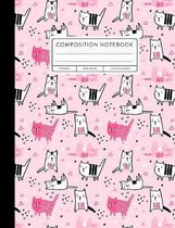 Composition Notebook: Wide Ruled, Cats, Pink