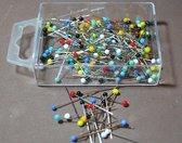 100 glaskopspelden - spelden met glaskop - gekleurde kopspelden