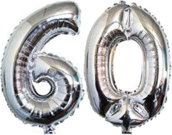 Folie ballon zilver XL cijfer 60  is + -  1 meter  groot
