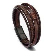 Armband heren - 5 snoeren - bruin leer met zwartkleurige sluiting - Sorprese - 20 - unisex - model V