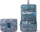 Toilettas flamingo - Met haak - Cosmetic bag - Organizer voor toiletartikelen - Travel bag - Hangend - Met print - Ophangbare toilettas - Blauw- Licht grijs - Dames - Vrouwen –  Meisjes