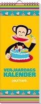 Verjaardagskalender Paul Frank - Geen jaartal - Ophangbaar - Kleur geel  - 13 x 33 x 0,5 cm