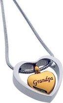 Ashanger hart in hart opa staal zilverkleurig goudkleurig 2cm