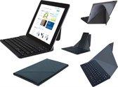 Slim Deluxe Bluetooth keyboard / toetsenbord met stand en beschermcase / hoes, oplaadbaar (voor o.a. tablet of smartphone), zwart , merk i12Cover