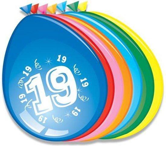 Ballonnen 19 jaar - 30cm - 8st