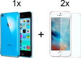 Apple iPhone 5C Hoesje Transparant Siliconen Case Hoes Cover - 2x iPhone 5C Screenprotector