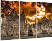 Canvas schilderij Kasteel | Grijs, Zwart, Bruin | 120x80cm 3Luik