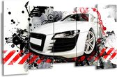 Canvas schilderij Audi   Rood, Zwart, Wit   150x80cm 5Luik