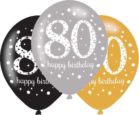 Ballonnen 80 Jaar Happy Birthday 27,5cm 6st