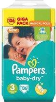Pampers Baby Dry Luiers - Maat 3 -  6 tot 10kg -136 Stuks