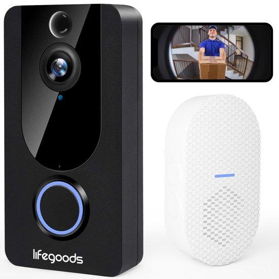 LifeGoods Draadloze Video Deurbel - WiFi - 1080P Camera - Nachtvisie - Bewegingsdetectie - Cloud Opslag - Waterdicht